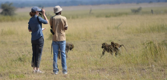 Beth Archie and Longida Siodi, a field assistant with the Amboseli Baboon Project.