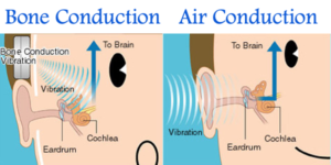 diagrams of the inner ear displaying the differences in bone and air conduction