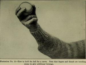 This image shows the grip and wrist position for a curveball