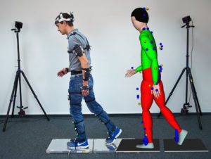 Optical trackers attached to a walking test subject