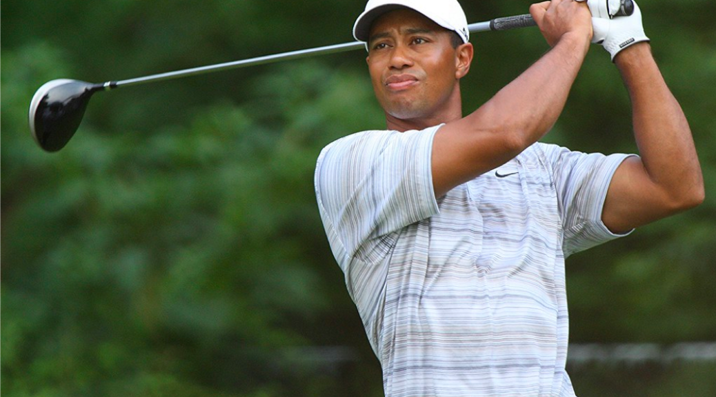 This is an image of Tiger Woods taking a golf swing