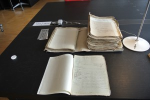 A photo of some of the archival sources with which Haddick worked.