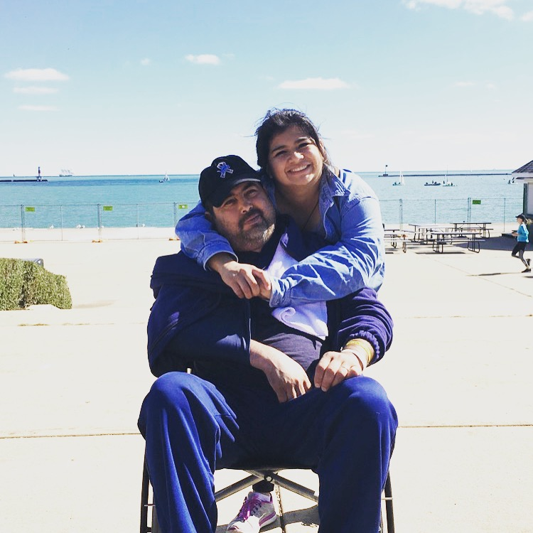 Nohemi pictured with her father on their trip to Chicago