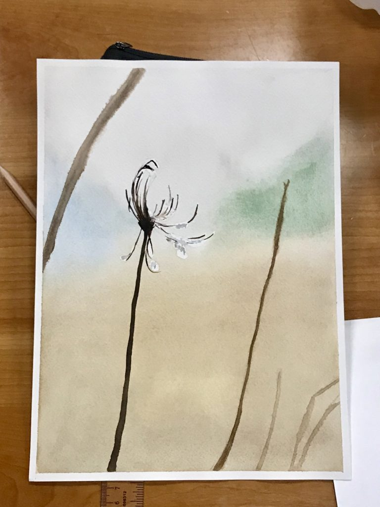 Watercolor painting of a dead flower