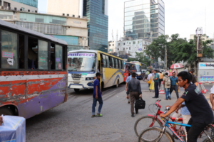 Typical busy street in Dhaka
