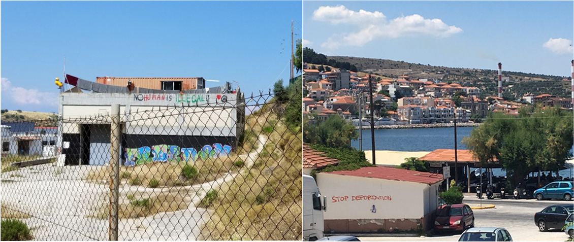"The phrases ""No human is illegal"" and ""Stop deportation"" spray-painted on buildings in Mytilene on the island Lesvo."