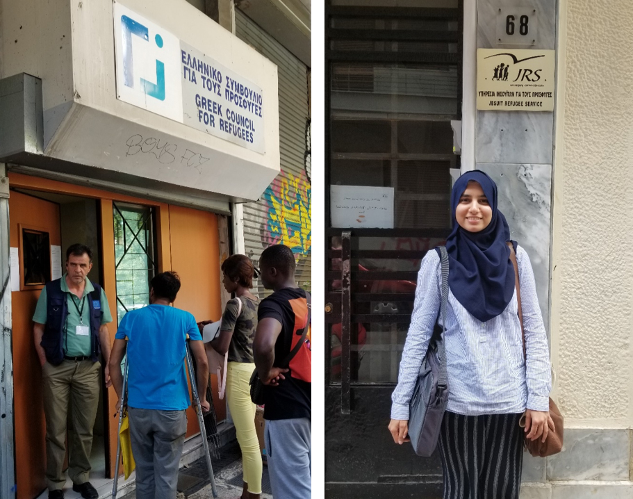From left to right. (1)The Greek Council for Refugee office, where amazing work is being done to provide migrants with legal aid (2) Me outside the Jesuit Refugee Service office in Athens where tea is organized for migrants daily