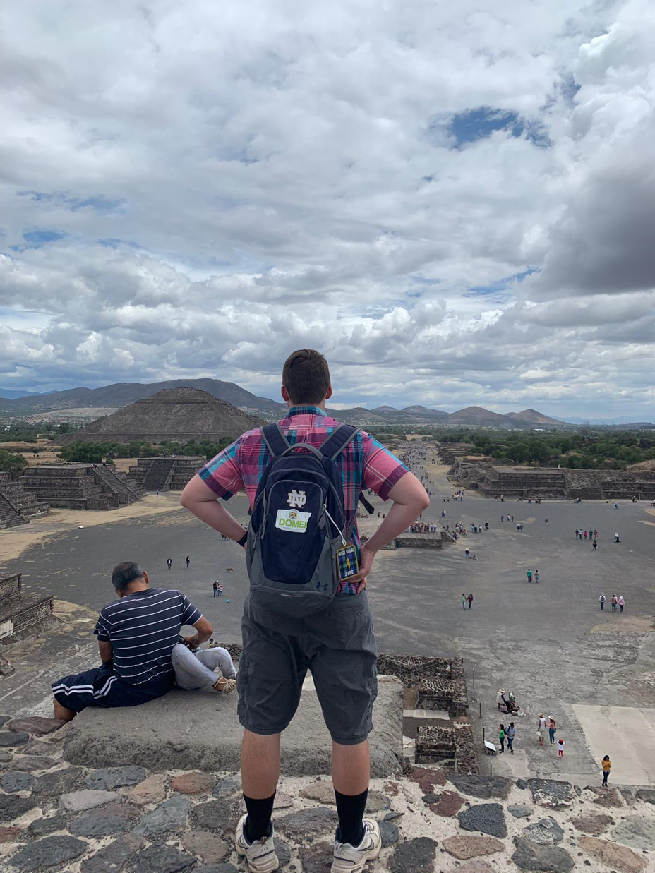 Joshua Pine looks out at the Teotihuacan pyramids on the horizon.