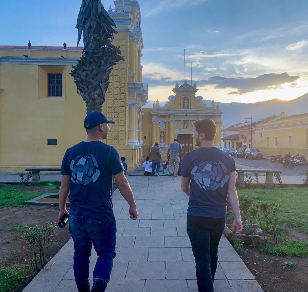 Keough School students walk and talk together during a sunset in Antigua, Guatemala