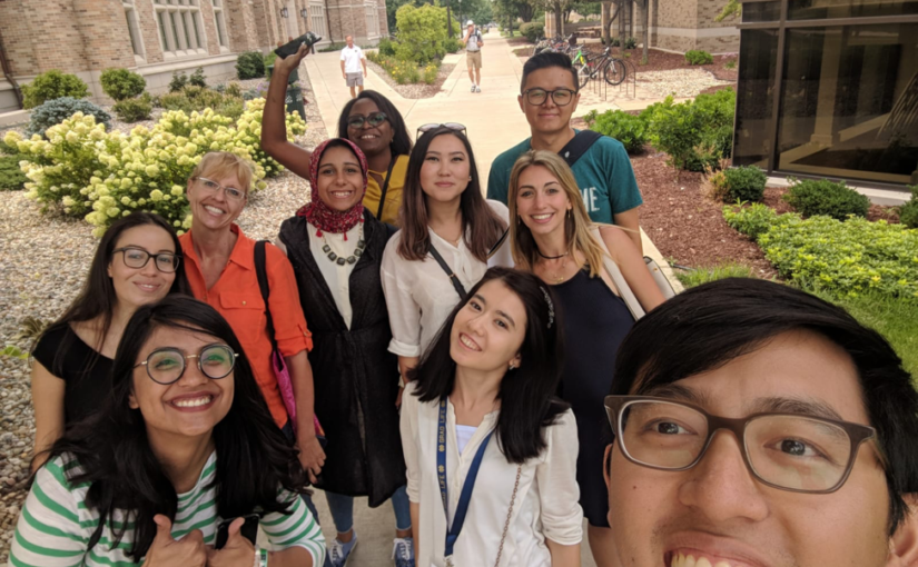 Members of the Master of Global Affairs class of 2020 posing for a selfie.
