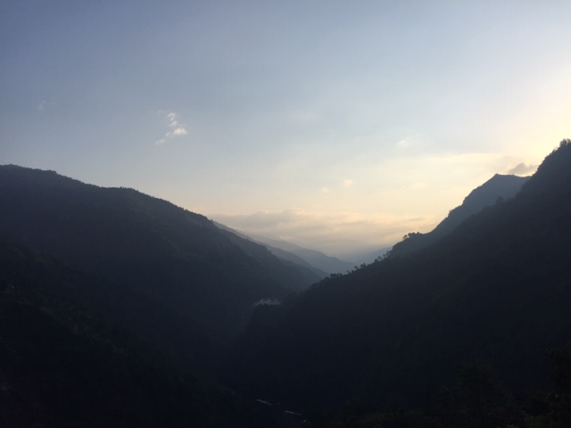 A morning sunrise in the mountains of Nepal.