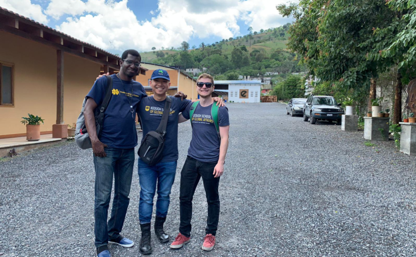 MGA student Max Ngoc Nguyen stands with his i-Lab partner, Dominic Scarcelli and the founder of Ecofiltro, Philip Wilson, in rural Guatemala.