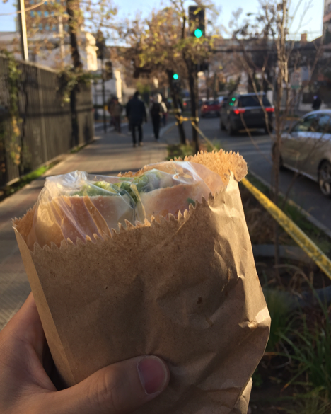 MGA student Seiko Kanda holds an avocado and chicken sandwich on a sidewalk in Chile.