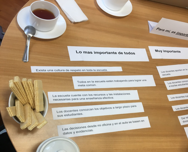 An interview activity sits on a wooden table with tea and cookies.