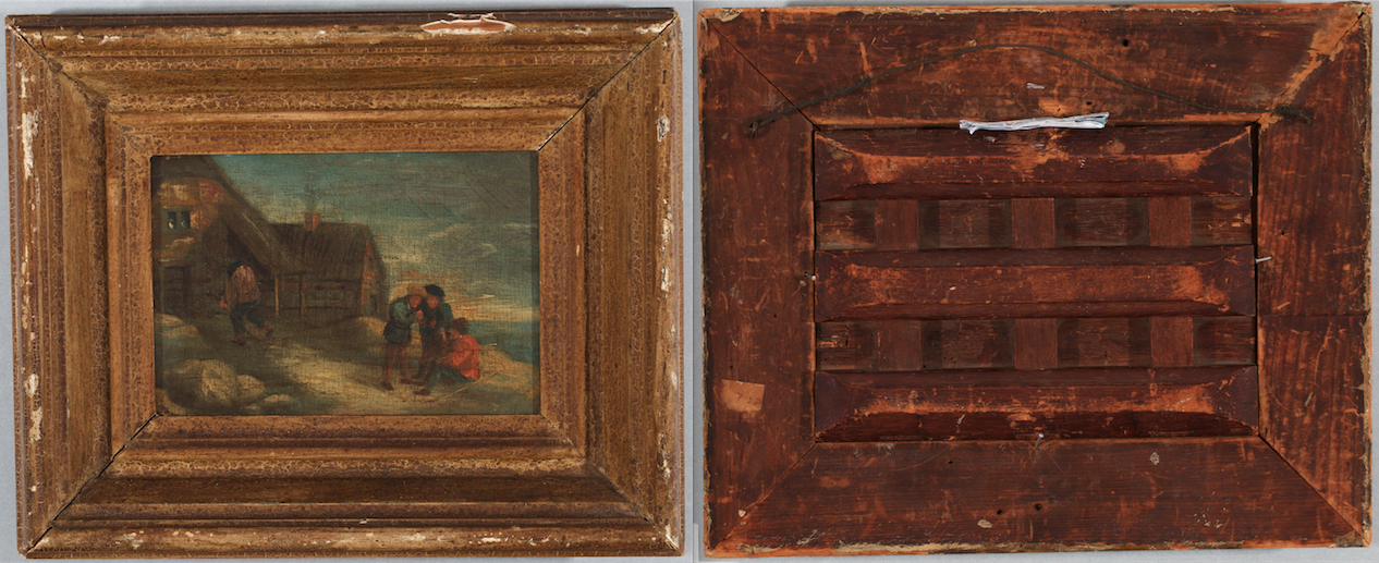 Peasants painting in frame