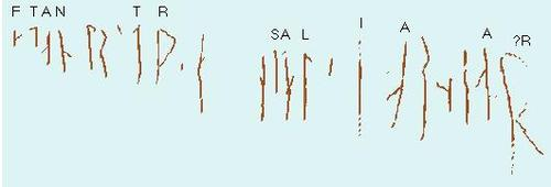 Transcription of the recognizable Halfdan runes.