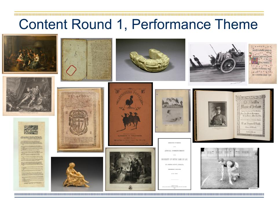 PPT slide with digitzed books, photographs, and archival materials