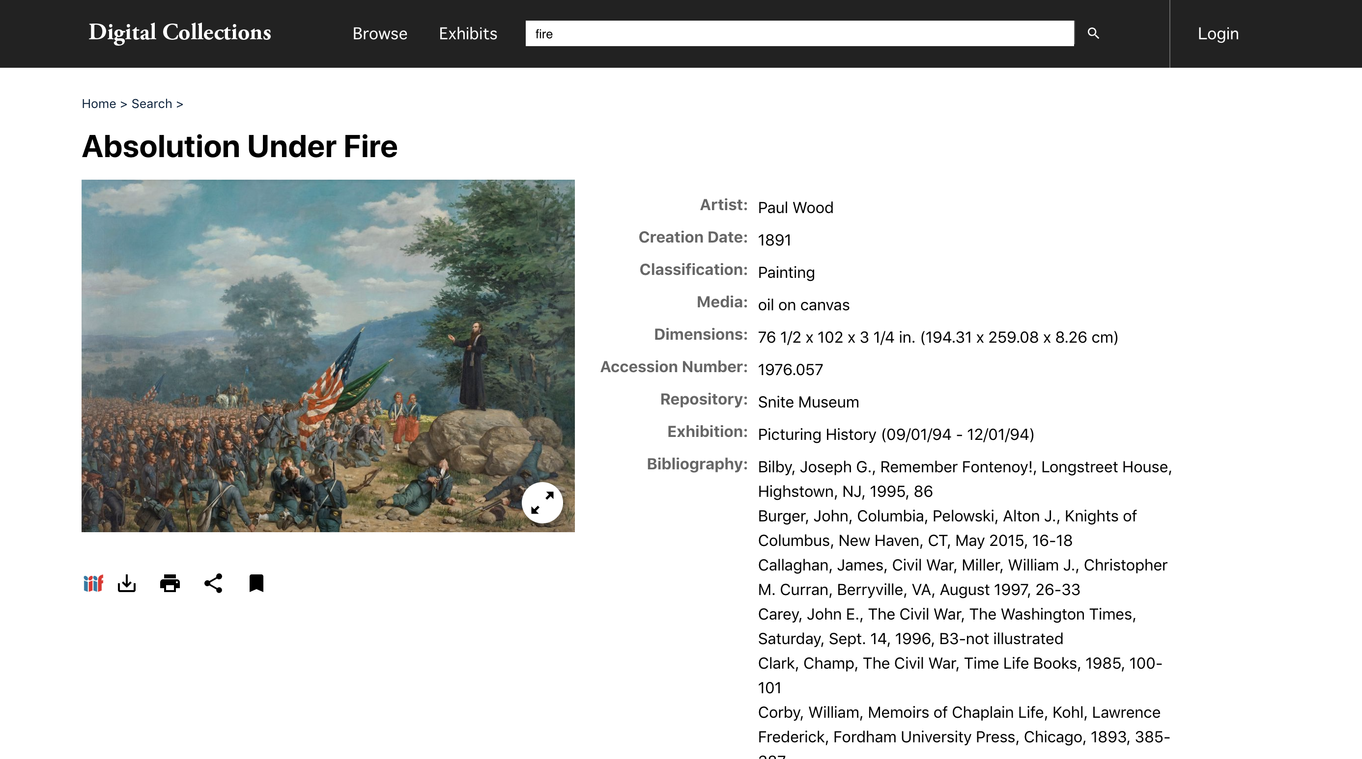 Screenshot of website with painting on leftside and metadata on rightside