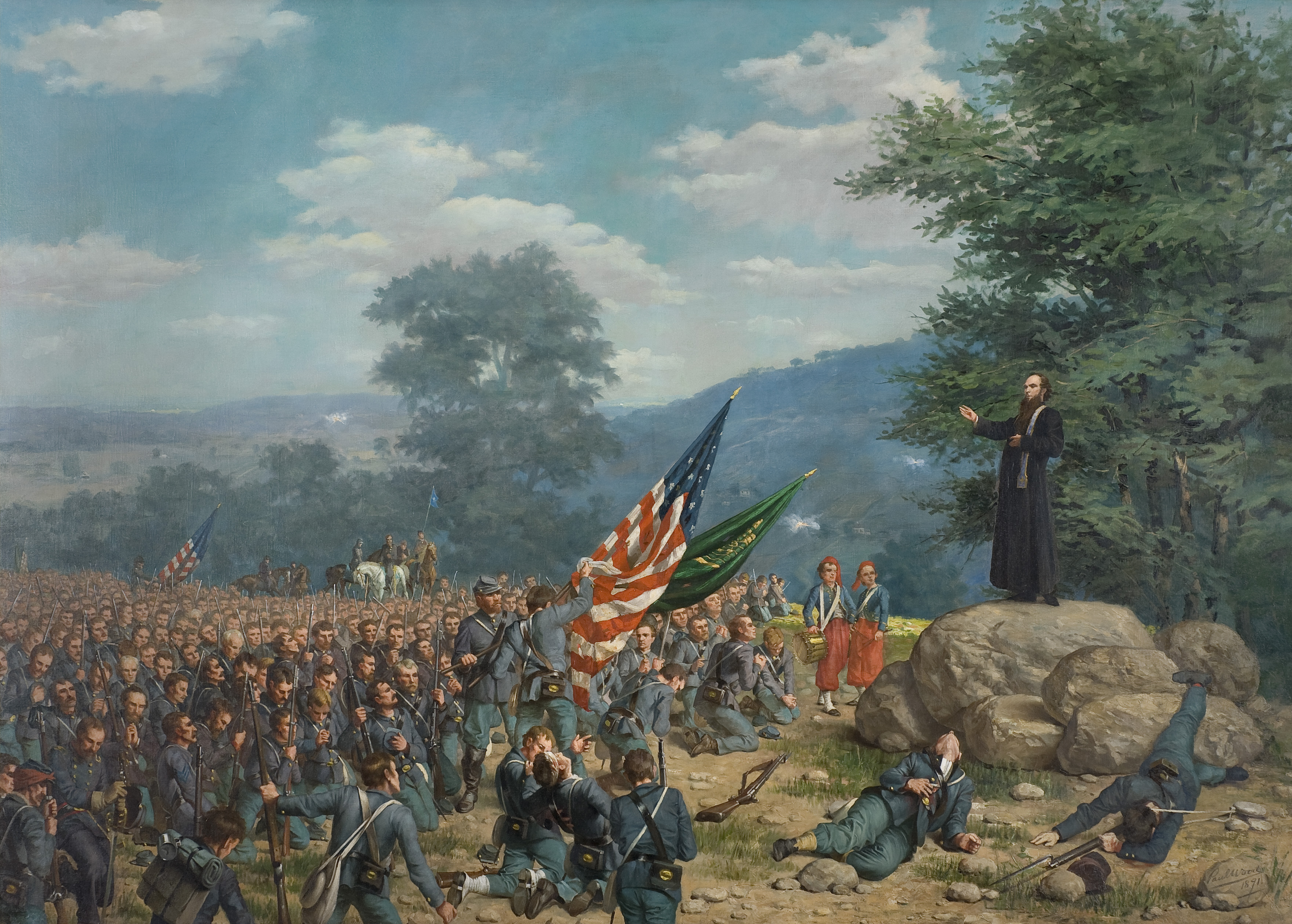 Priest ministering to soldiers on battlefield
