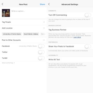 Side by side images of Instagram's New Post screen and Advanced Settings of a post screen