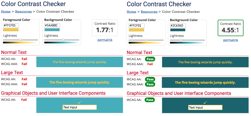 Color Contrast checker showing a failing and then passing grade on text on a solid background