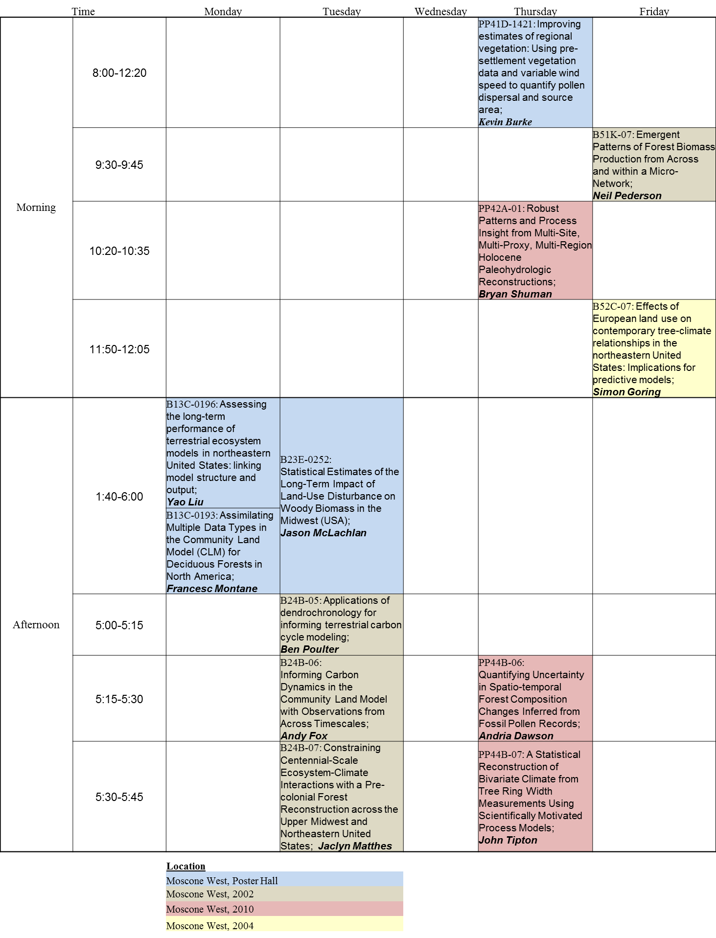 PalEON presentation & poster schedule for AGU 2014. Presentations are color coded by location.