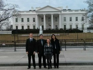 MSPL students pose for a picture in front of the White House before going in for a tour