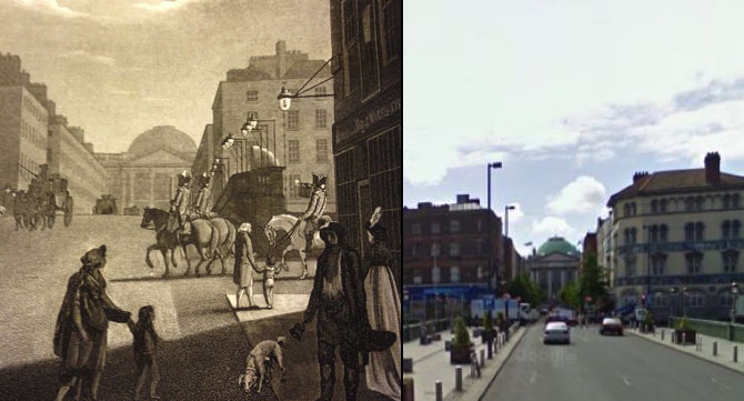 The detail shown above is of the south end of Capel Street, looking across Grattan Bridge (then Essex Bridge) towards Parliament Street and City Hall.