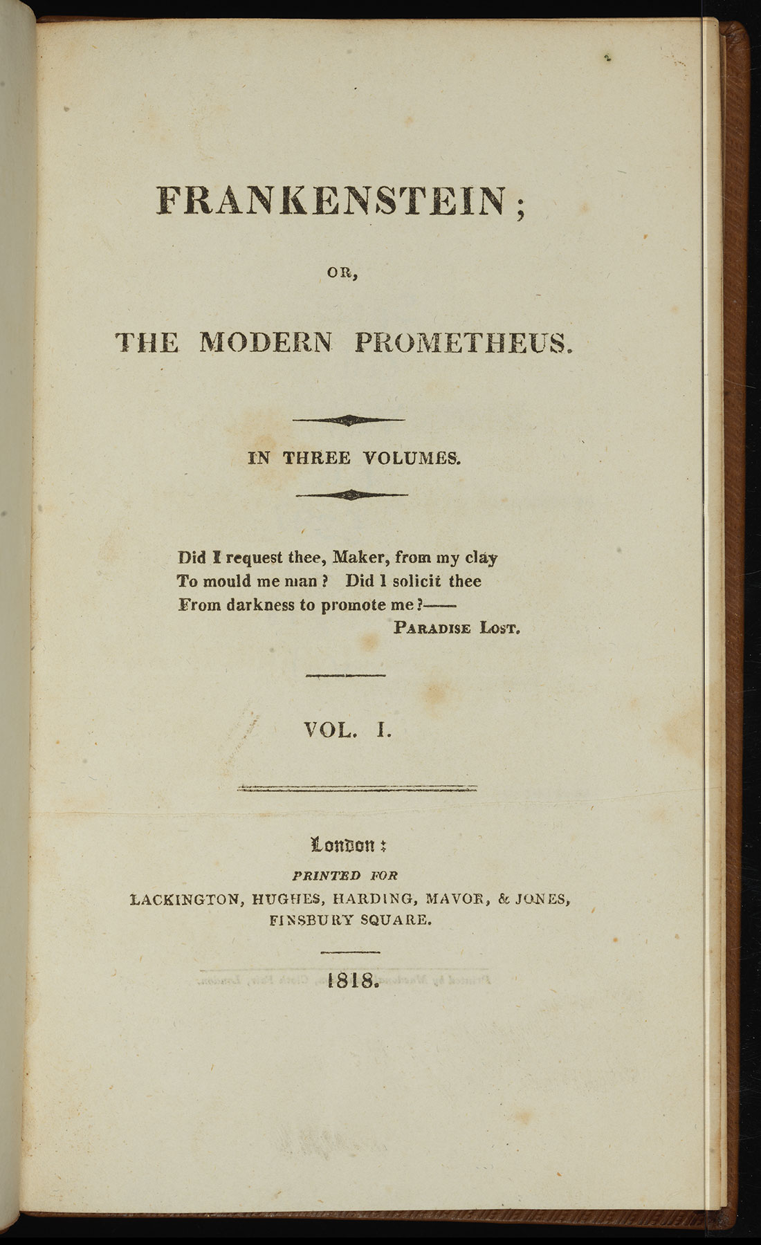 First Edition Of One The Most Influential Works European Literature And Taught Novel In Universities Mary Shelleys Frankenstein Enhances