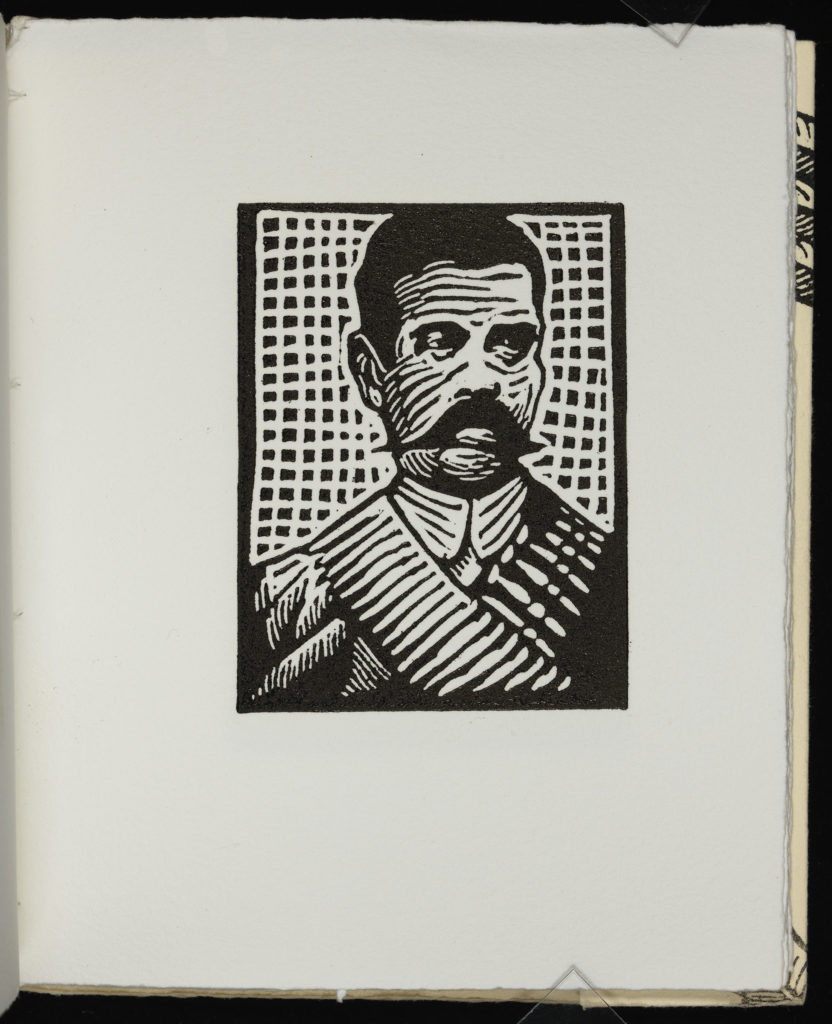 Emiliano Zapata, hero of the Mexican Revolution, is depicted with his signature bandolier over his shoulder.
