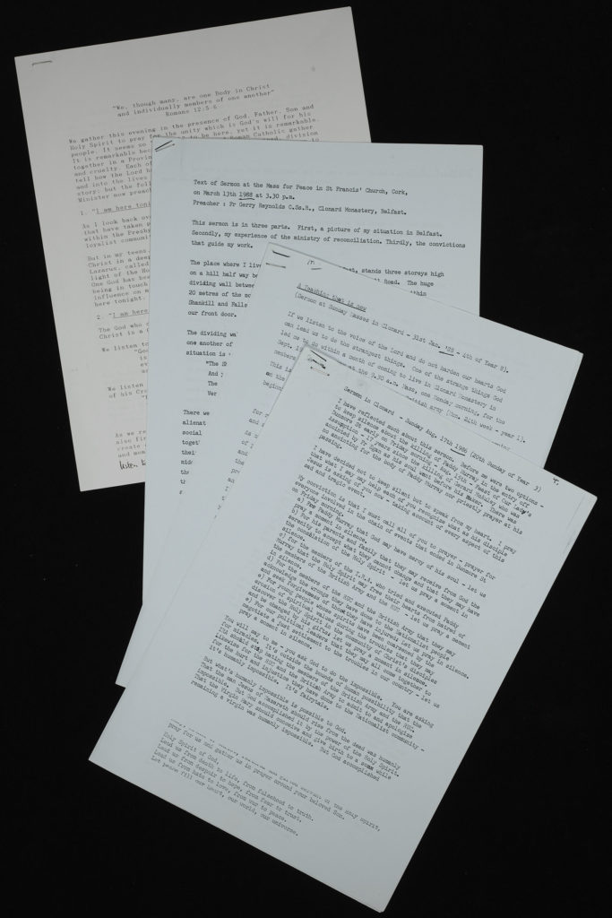 Copies of four typed transcripts of sermons, displayed overlapping against a black background.