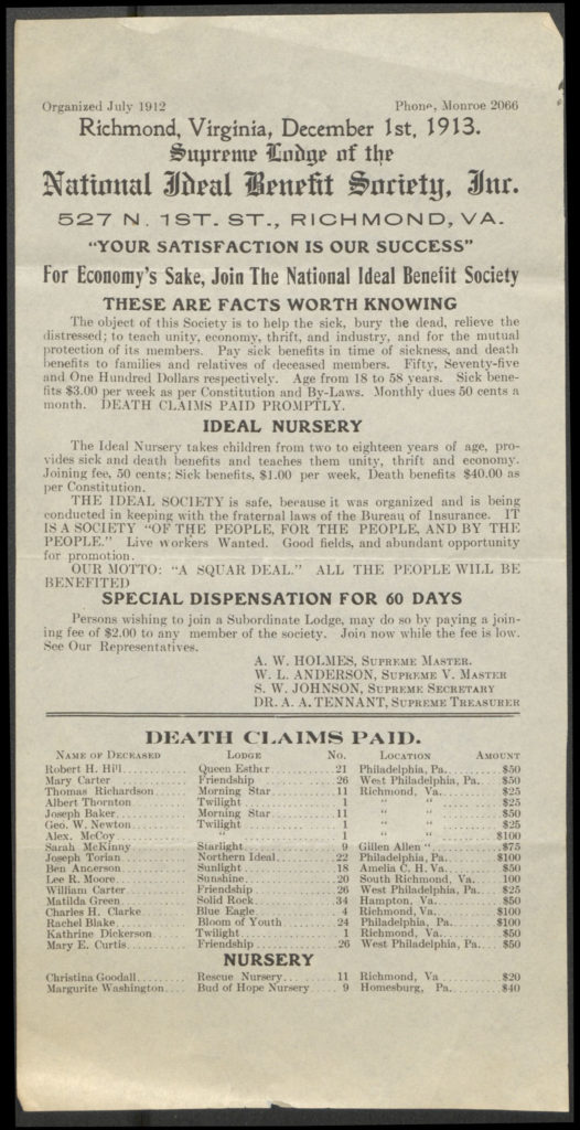National Ideal Benefit Society advertisement, 1913.