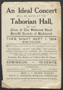 Advertisement for a concert by the National Ideal Benefit Society's choir, 1914.