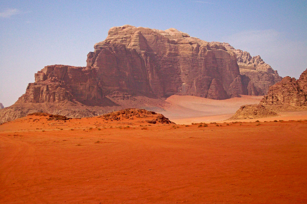 Mountain in Wadi Rum by Daniel Case (Wikimedia)