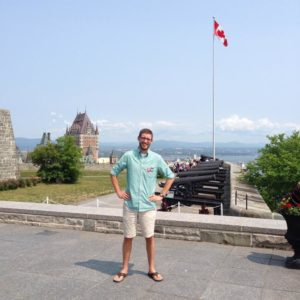 Garrett at the Citadelle in Quebec City, during his only brief trip to Quebec in 2013.