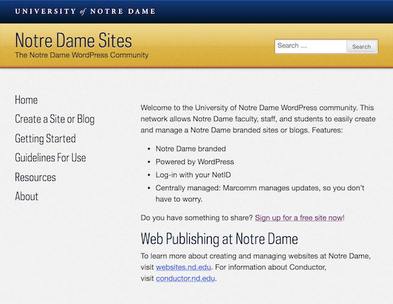 Notre Dame Sites - home page