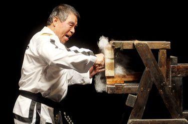 Taekwon-Do Grandmaster Rhee Ki Ha breaking a solid concrete block with a punch