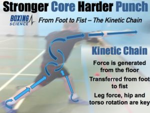 Kinetic Chain: Force is generated from the floor and transferred from foot to fist. Leg force, hip and torso rotation are key. Arrows show movement of force from foot, through the body, to fist.