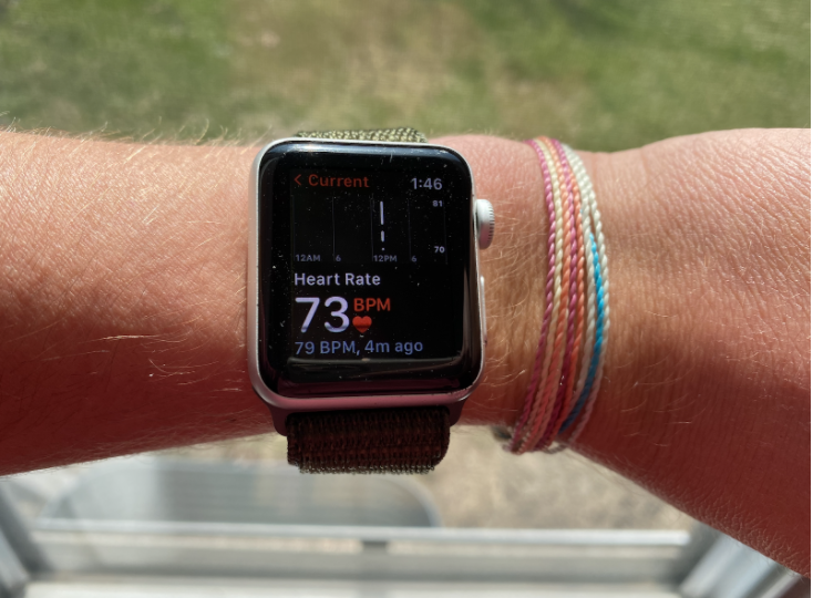 Photograph of a smartwatch reading heart rate