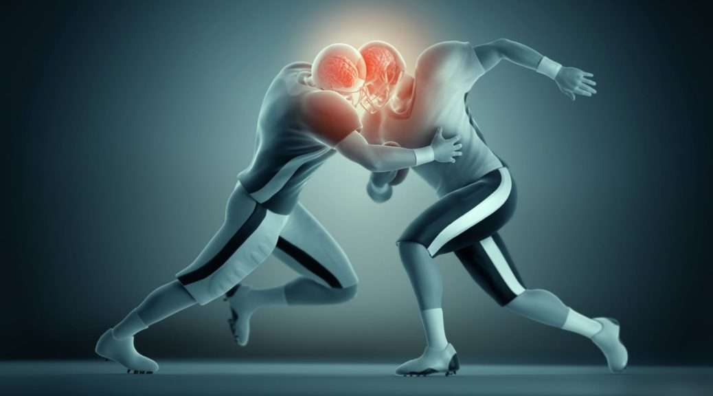 Two football players colliding heads with their brains highlighted