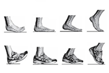 Diagram illustrating four phases of foot contact with the ground for forefront strike and rear foot strike patterns