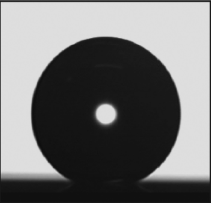 Nearly perfectly spherical water droplet on an artificially prepared surface