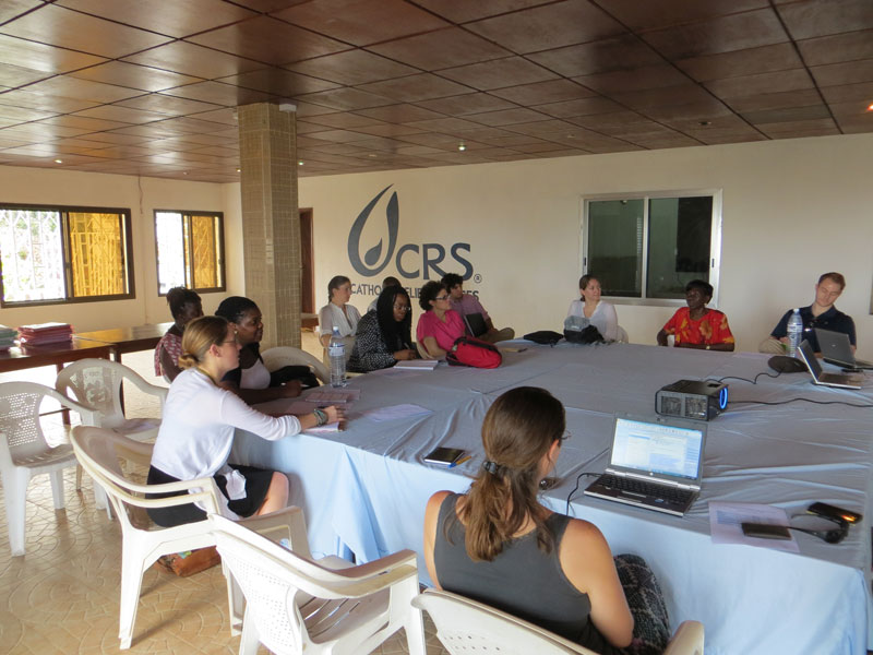 Team Sierra Leone meeting with the CRS staff in Freetown.
