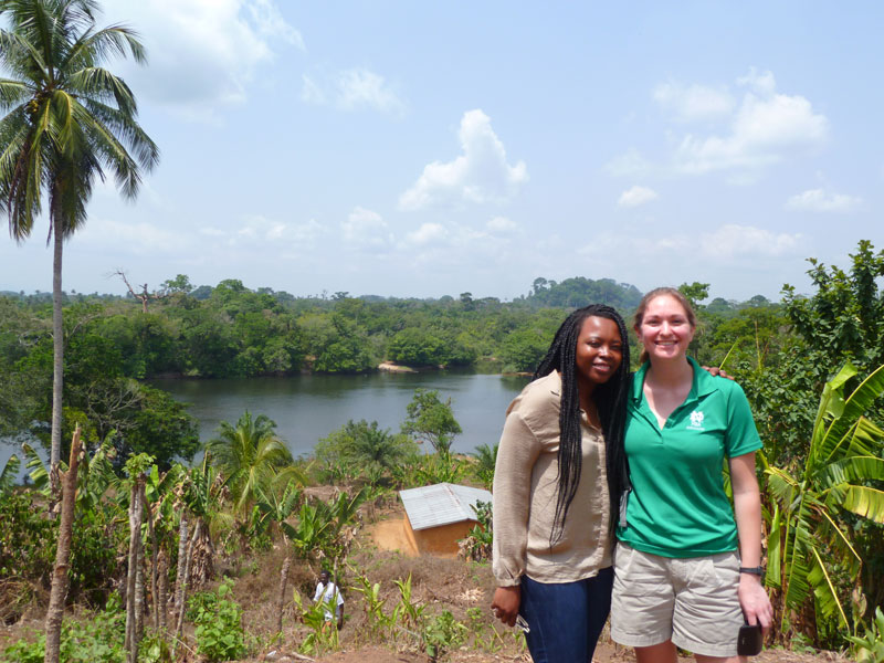 Lwando and Michelle checking out the border between Guinea and Sierra Leone.