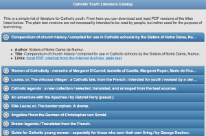 Catholic Youth Literature Project catalog