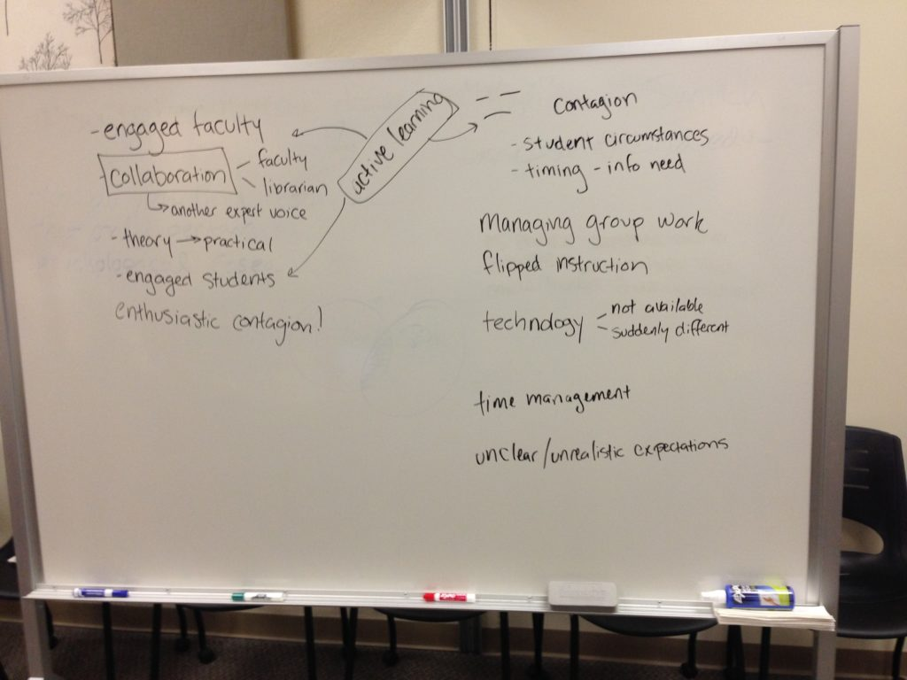 the whiteboard with our session notes