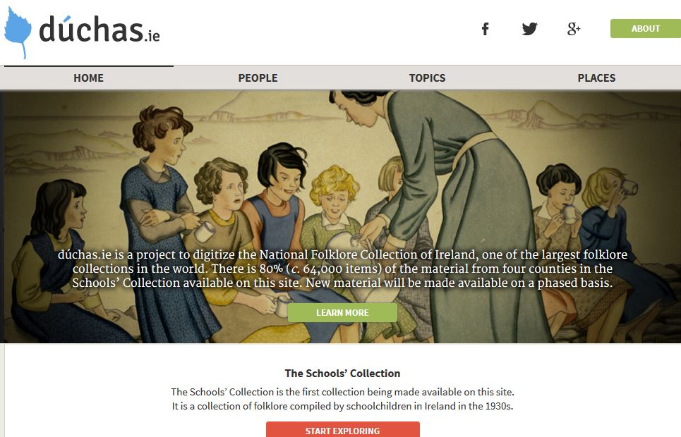Main page of Dúchas website.