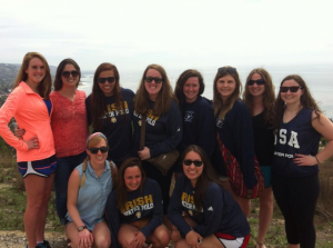The team at a vista point looking down on Laguna Beach.