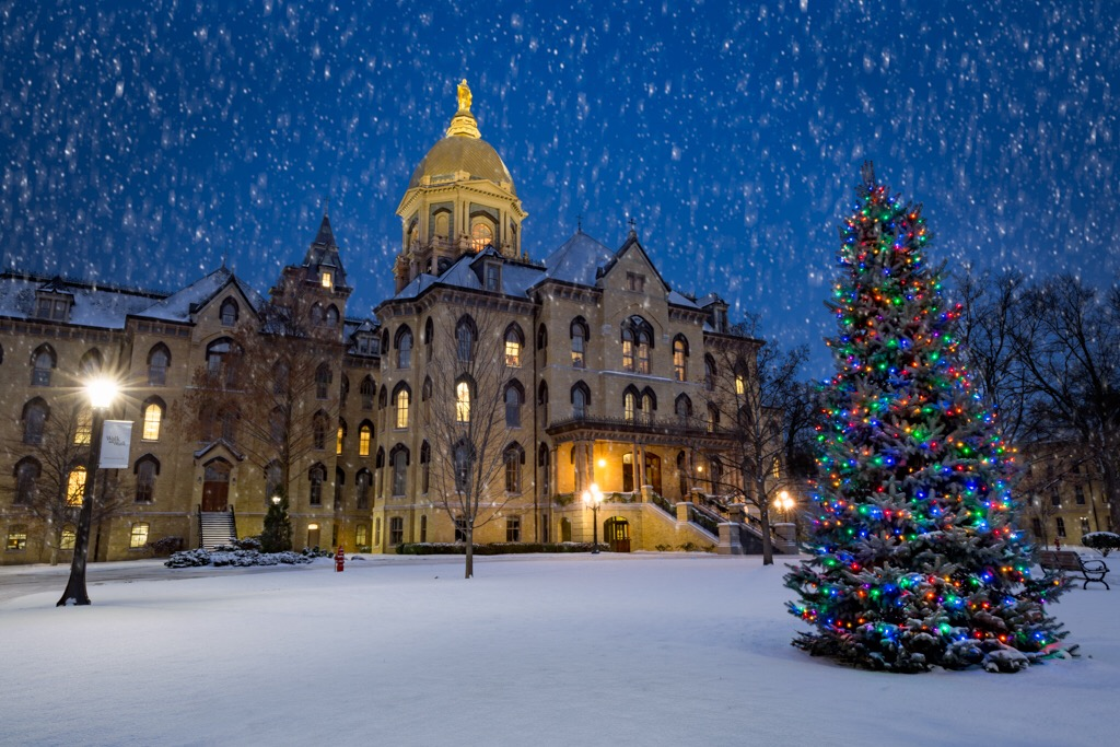 Notre Dame's campus in winter is a snow globe come to life (Image used with permission. Photo credit: Jessica Cepele Photography)