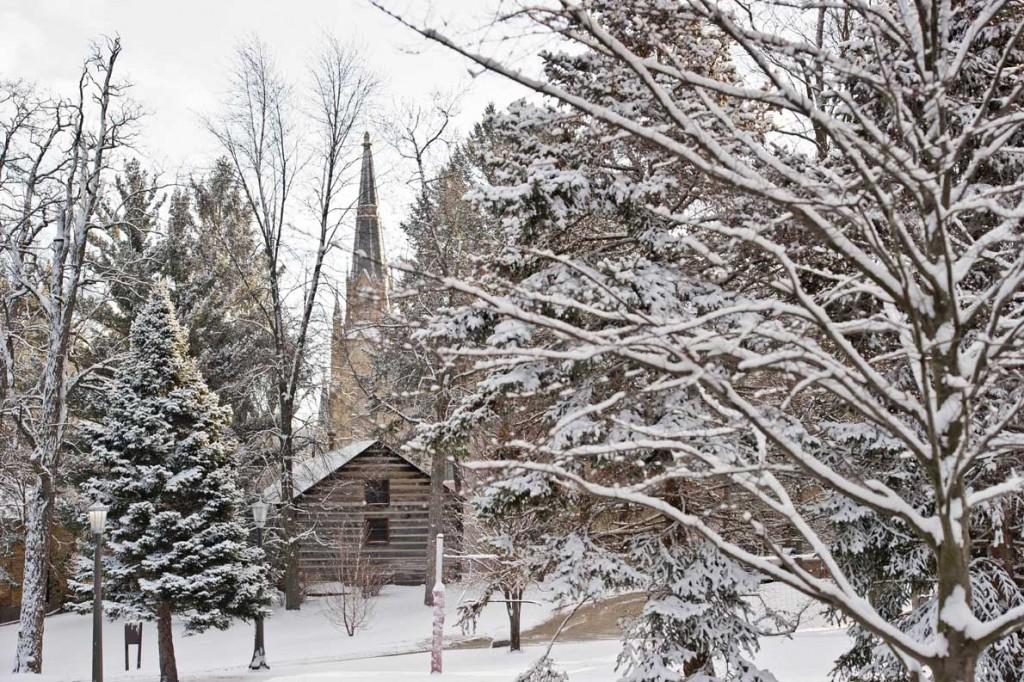 Mar. 21, 2013; Log Chapel and Basilica Steeple..Photo by Matt Cashore/University of Notre Dame